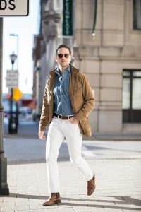 Camel coat and white jeans